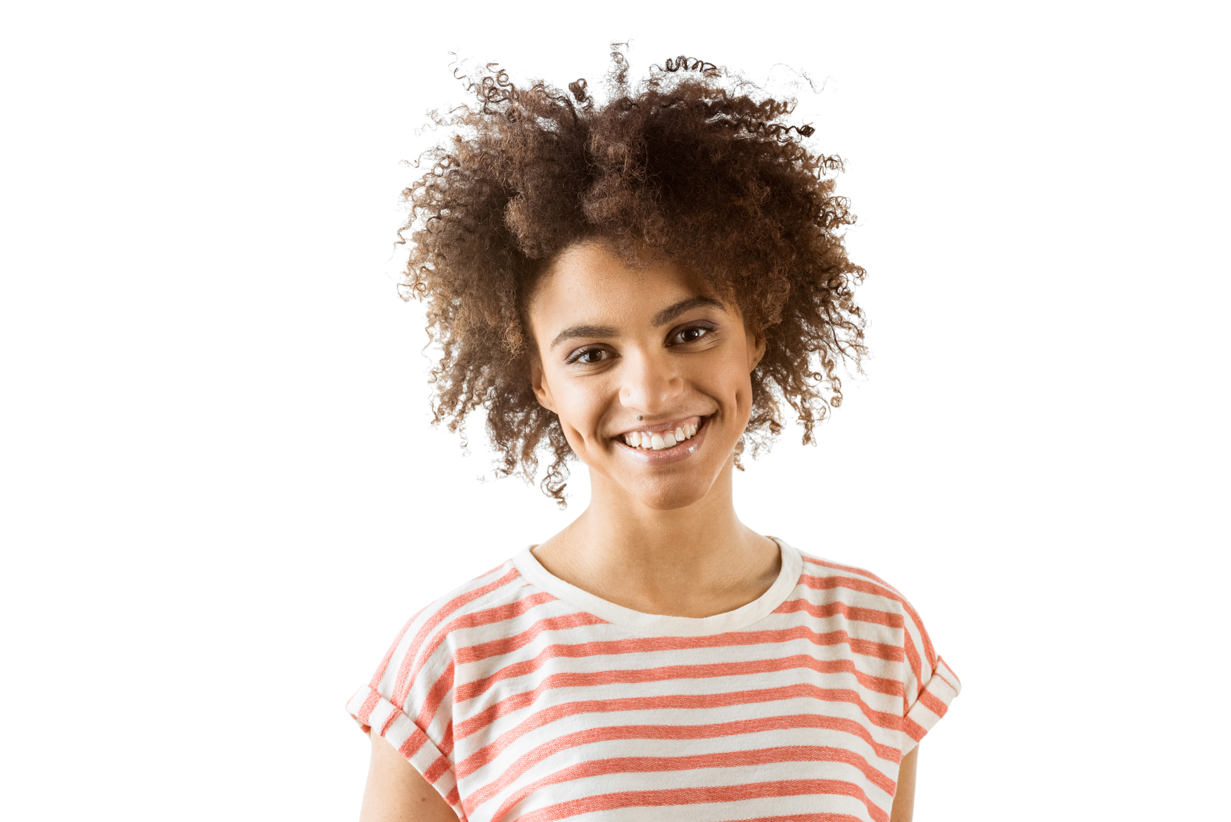 portrait of smiling african american woman looking at camera iso